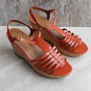 Franco Sarto GREECE Orange Cork Wedge Sandals 9
